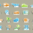 Travel icons on stickers — Stock Vector #13279428