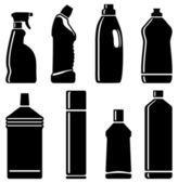Botellas de productos de limpieza — Vector de stock