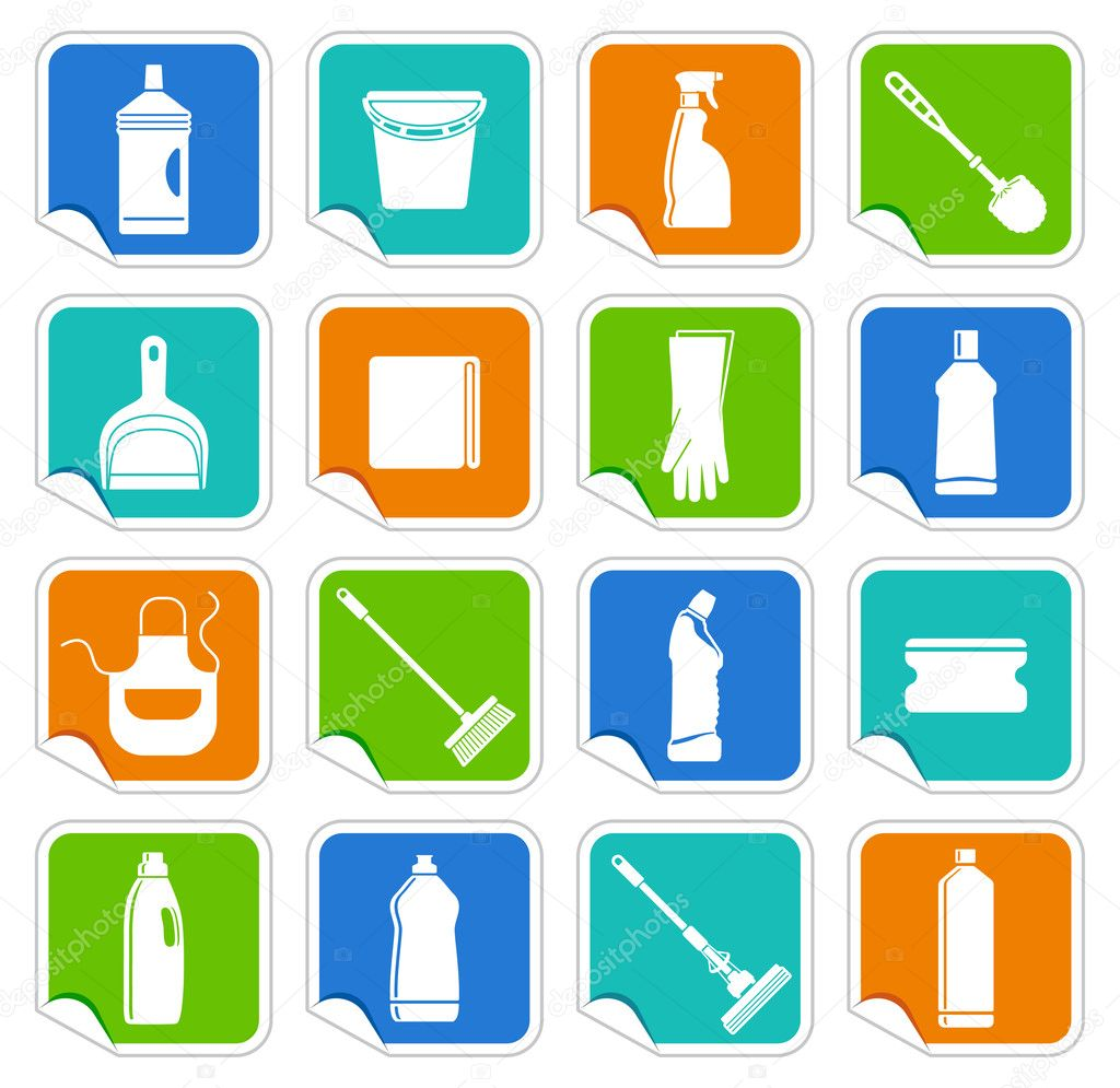 Stickers with the equipment for cleaning — Stock Vector #14831615