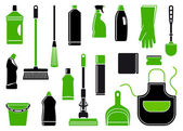 Icons of accessories and means for cleaning — Stock Vector