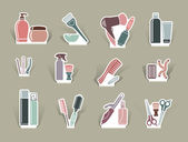 Hairdresser's accessories on cut out icons — Stock Vector