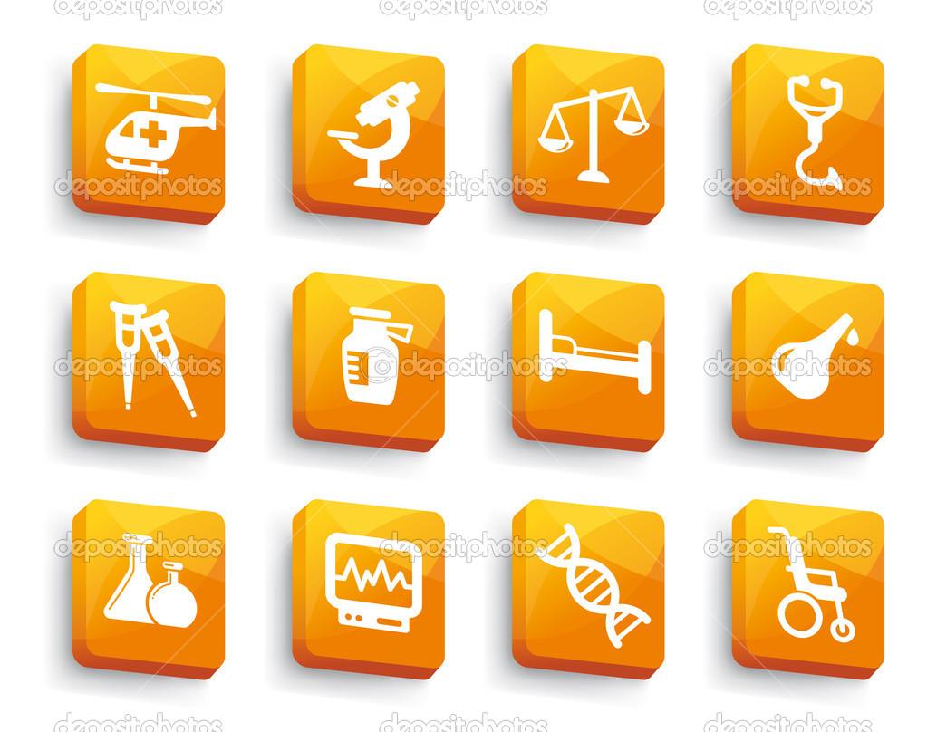 医疗按钮设置 — 图库矢量图片