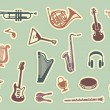 Stickers of musical instruments — Stock Vector #23086704