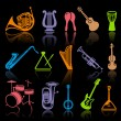 Icons of musical instruments - Stock Vector