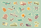 Travel icons on stickers — Stock Vector