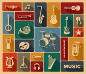 Silhouettes of musical instruments — Stock Vector