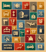 Icons on a hotel theme — Stock Vector