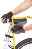 Measuring bike saddle — Stock Photo