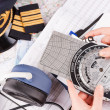 Airplane pilot equipment - Stock Photo