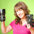 Photographer with camera and lens - Stock Photo
