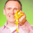 Man with tape — Stock Photo