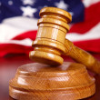 Stock Photo: Judges gavel with flag