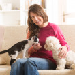 Stock Photo: Owner with cat and dog
