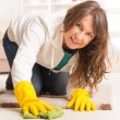 Beautiful young woman cleaning her house — Stock Photo #40300335