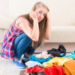 Young girl preparing her luggage — Stock Photo