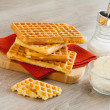 Stock Photo: Waffles with whipped cream