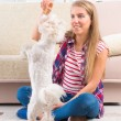 Stock Photo: Beautiful young womtraining her dog