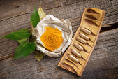 Herbal curcumin capsules — Stock Photo