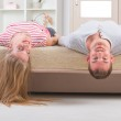 Couple laying on the bed — Stock Photo