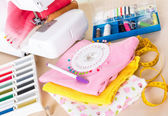 Sewing machine and sewing accessories — Stock Photo