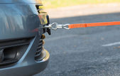 Towing hook and orange rope — Stock Photo