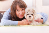 Dog and owner — Foto Stock