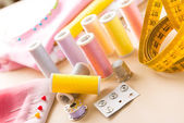 Sewing accessories on the table — Stock Photo