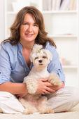 Perro y dueño — Foto de Stock