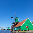 Ancient Dutch wooden windmills — Stock Photo