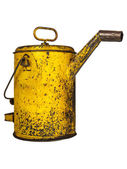 Vintage yellow oil can — Stock Photo