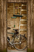 Shed with bicycle — Stock Photo