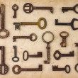 Different antique keys — Stock Photo