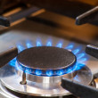 Burning gas stove — Stock Photo