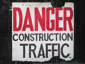 Text danger construction traffic — Stock Photo