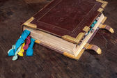 Medieval book with colorful ribbons — Photo