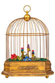 Birdcage with fake birds — Stock Photo