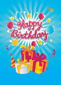 Carte de vecteur de joyeux anniversaire — Vecteur