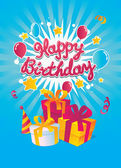 Happy Birthday vector card — Vetor de Stock