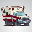 Cartoon ambulance car character — Stock Vector