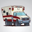 Cartoon ambulance car isolated — Stock Vector