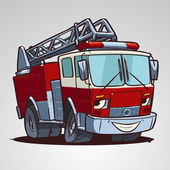 Cartoon fire truck character — Stock Vector