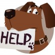 Stock Vector: Dog with help sign