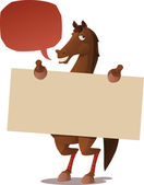 Horse with a blank sign — Stock Vector