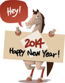 Horse with a Happy New Year sign — Stock Vector