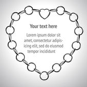Silver chain in heart form. frame for text — ストックベクタ