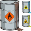Metal barrel with flammable oil and barrels with radioactive, biohazard waste — Stock Vector #29218591