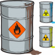 Metal barrel with flammable oil and barrels with radioactive, biohazard waste — Stok Vektör