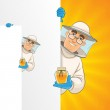 Printbeekeeper standing by white blank card and showing honey pot — Stock Vector