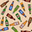 Beer bottles seamless pattern — Stock Vector