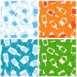 Stock vektor: Alcohol drink bottles seamless patterns
